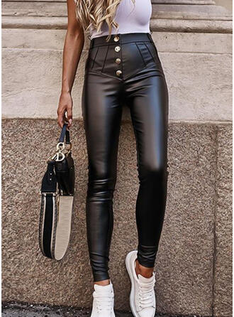 Solid Shirred Elegant Sexy Leather Stretchy Pants