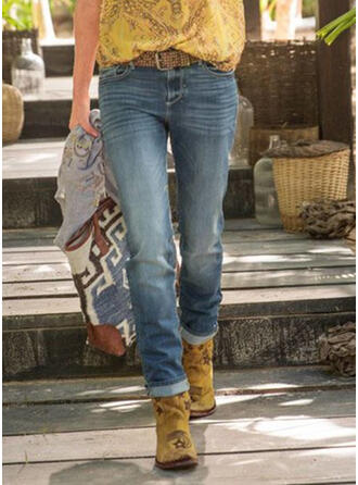 Pockets Shirred Plus Size Long Casual Tribal Denim & Jeans
