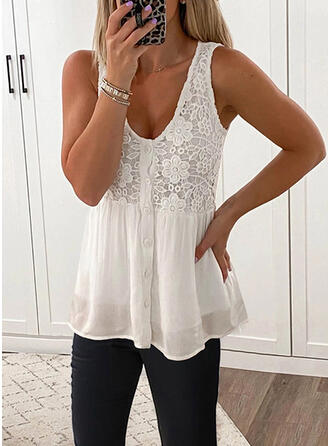 Solid Lace U-Neck Sleeveless Button Up Casual Tank Tops