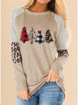 Print Striped Leopard Round Neck Long Sleeves Casual Christmas T-shirts