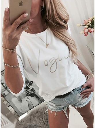 Print Figure Round Neck Long Sleeves Casual T-shirts