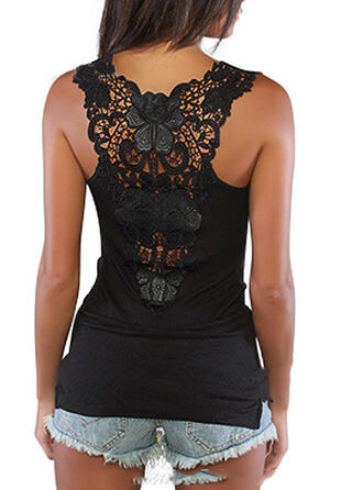 Solid Lace Round Neck Sleeveless Sexy Tank Tops