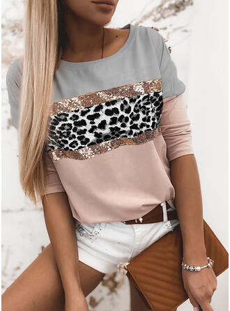 Color Block Sequins Leopard Round Neck Long Sleeves Casual T-shirts