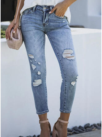 Shirred Ripped Cropped Elegant Sexy Denim & Jeans