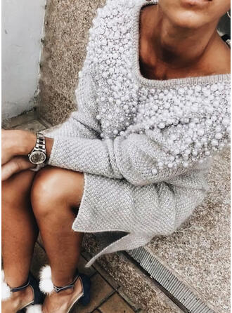 Solid/Beaded Long Sleeves Shift Knee Length Casual Sweater Dresses