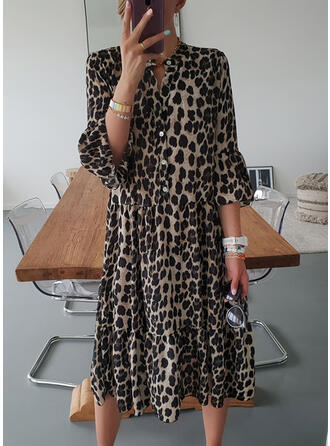 Leopard 3/4 Sleeves/Flare Sleeves Shift Tunic Casual Midi Dresses
