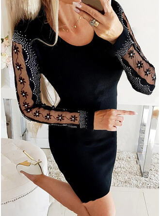 Sequins/Solid/Beaded Long Sleeves Bodycon Above Knee Little Black/Party Dresses