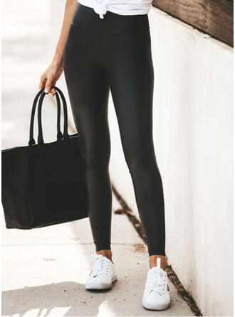 Solid Plus Size Casual Sexy Yoga Leggings
