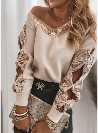 Solid Sequins V-Neck Casual Sweaters