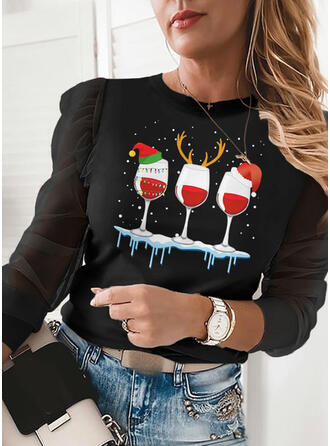 Print Round Neck Puff Sleeves Long Sleeves Casual Christmas Blouses