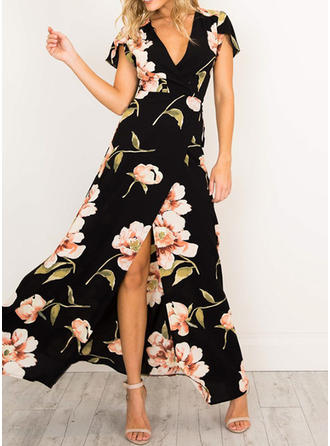 Print/Floral Short Sleeves A-line Wrap Casual/Boho/Vacation Maxi Dresses