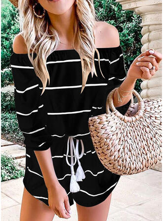 Striped Off the Shoulder 3/4 Sleeves Casual Vacation Romper
