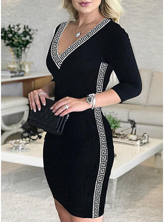 Print/Solid Long Sleeves Bodycon Above Knee Elegant Dresses