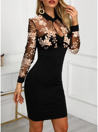 Print/Floral Long Sleeves Bodycon Above Knee Elegant Dresses