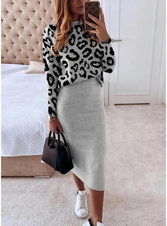 Leopard Long Sleeves Bodycon Casual Midi Dresses