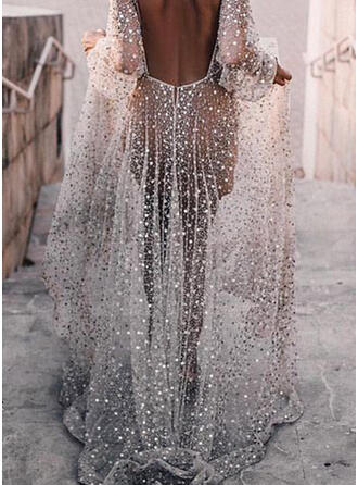 Sequins Long Sleeves A-line Skater Sexy/Party Maxi Dresses