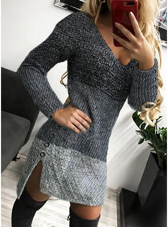 Color Block V-Neck Casual Long Tight Sweater Dress
