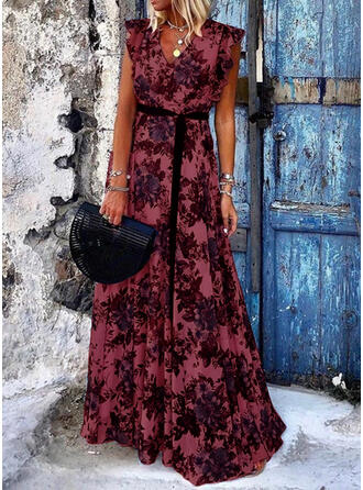 Print/Floral Cap Sleeve A-line Skater Casual/Vacation Maxi Dresses